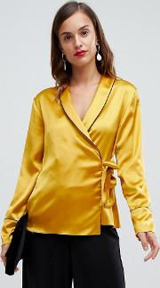 Satin Wrap Top With Piping Detail And Long Sleeves