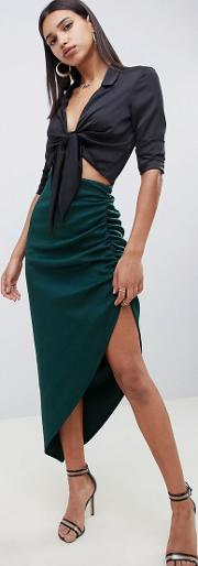 Scuba Tube Maxi Skirt With Ruching Detail