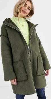 Shearling Parka With Seam Detail Khaki
