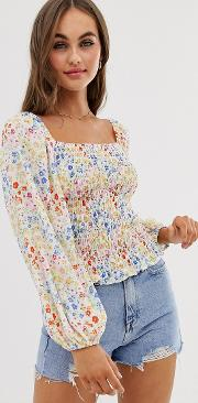 Shirred Crop Top With Long Sleeve