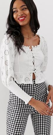 Shirring Bardot Top With Broderie Sleeve And Lace Up Detail