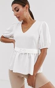 Short Sleeve Neck Tea Blouse With Buckle Detail