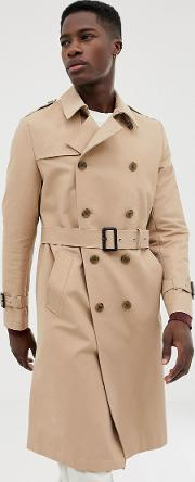 Shower Resistant Longline Trench Coat With Belt