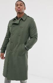 Shower Resistant Longline Trench Coat With Belt Khaki