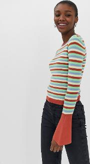 Skinny Crew Neck Jumper With Flared Sleeve Stripe