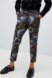 Skinny Crop Smart Trouser With Floral Flocking