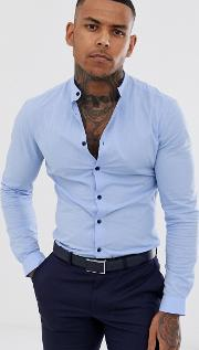 Skinny Fit Smart Shirt With Grandad Collar & Tipping Detail