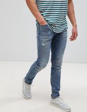 Skinny Jeans Dark Wash With Abrasions