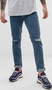 Skinny Jeans Flat Mid With Knee Rips