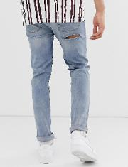 Skinny Jeans Mid Wash With Bum Rips