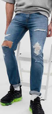 Skinny Jeans Mid Wash With Heavy Rips