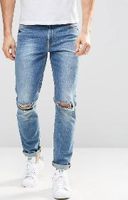 Skinny Jeans Mid Wash With Knee Rips