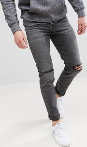 Skinny Jeans Vintage Washed With Knee Rips