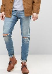 Skinny Jeans With Knee Rips 12.5oz Light