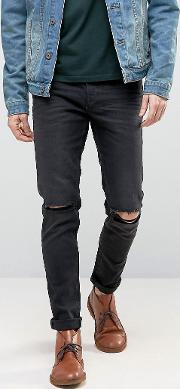 Skinny Jeans With Rips 12.5oz Washed