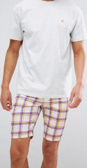 Skinny Shorts With Rainbow Check Print