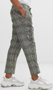 Skinny Smart Trousers Neppy Wool Check