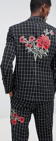 Skinny Suit Jacket And White Check With Embroidery