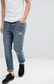 Skinny Twisted Jeans Dark Wash With Rip And Repair