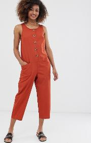 Sleeveless Button Front Boilersuit