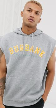 Sleeveless Oversized Hoodie With College Chest Print