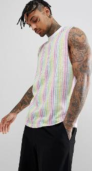 design sleeveless t shirt with dropped armhole and pastel vertical stripes in linen look fabric