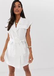 Sleeveless Utility Mini Dress With Belt Linen