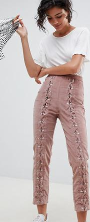 Slim Cord Trouser With Lace Up Detail