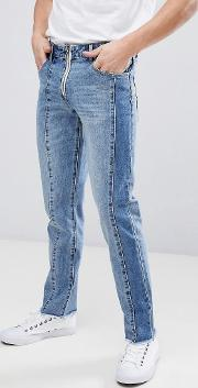 Slim Jeans With Cut And Sew Detail