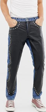 Slim Jeans With Leather Look Overlay