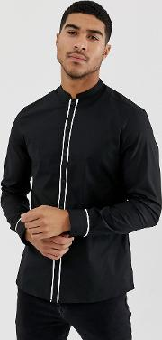 Slim Shirt With Manderin Collar Contrast Piping