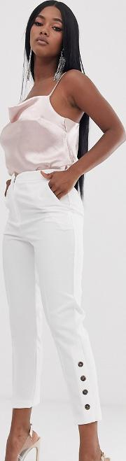 Slim Trousers With Ankle Button Detail