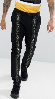 Slim Trousers With Lace Up Detail