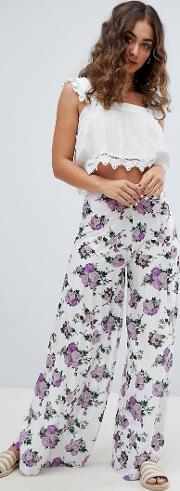design soft pleated wide leg trousers in ditsy floral print