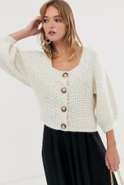 Square Neck Cardigan With Volume Sleeve