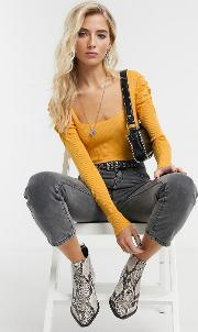 Square Neck Jumper With Volume Sleeve