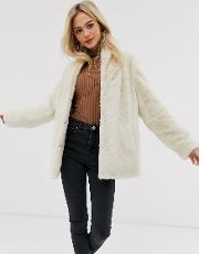 Stand Collar Faux Fur Coat
