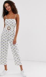 Strappy Pinny Belted Jumpsuit Floral Print