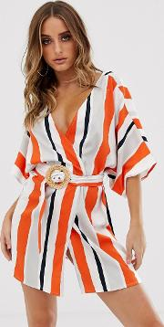 Stripe Beach Cover Up With Natural Belt