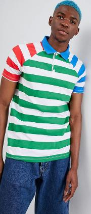 stripe polo with contrast sleeves