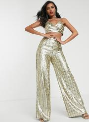 Stripe Sequin Wide Leg Trouser Co Ord