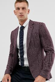 Super Skinny Blazer With Brushed Pv Micro Check Burgundy