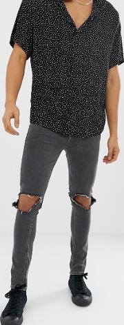 Super Skinny Jeans Washed With Open Knee Rips