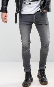 Super Skinny Jeans With Abrasions Dark