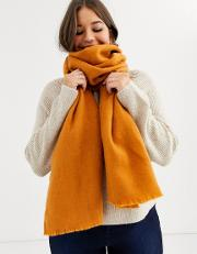 Supersoft Long Woven Scarf With Raw Edge