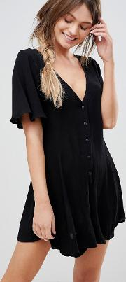 Swing Playsuit Crinkle With Button Detail