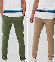 Tall 2 Pack Skinny Chinos Green & Stone Save