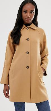 Tall Crepe Coat With Buttons