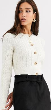 Tall Cropped Cable Cardigan