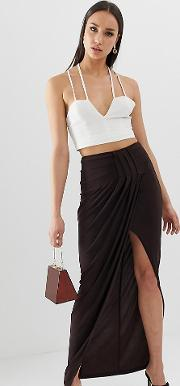 Tall Exclusive Drape Wrap Slinky Maxi Skirt